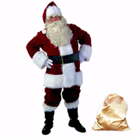 10pcs set Santa Claus Cosplay Costume A Full Set Of Christmas Costumes Red Velvet Santa Claus Xmas Clothes Luxury Suit For Adult