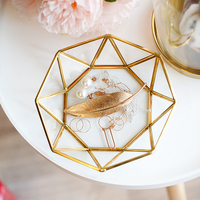 Nordic Retro Copper Strip Glass Plate Jewelry Plate Ring Necklace Storage Tray Dessert Dessert Plate Gourmet Tray
