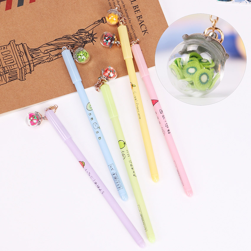 5PCS Love EiffelWish Bottle Pen Romantic Luminous Light Grit  and Fruit Pendant 0.5mm Black Gel Ink Pens Stationery School Suppl5PCS Love EiffelWish Bottle Pen Romantic Luminous Light Grit  and Fruit Pendant 0.5mm Black Gel Ink Pens Stationery School Suppl