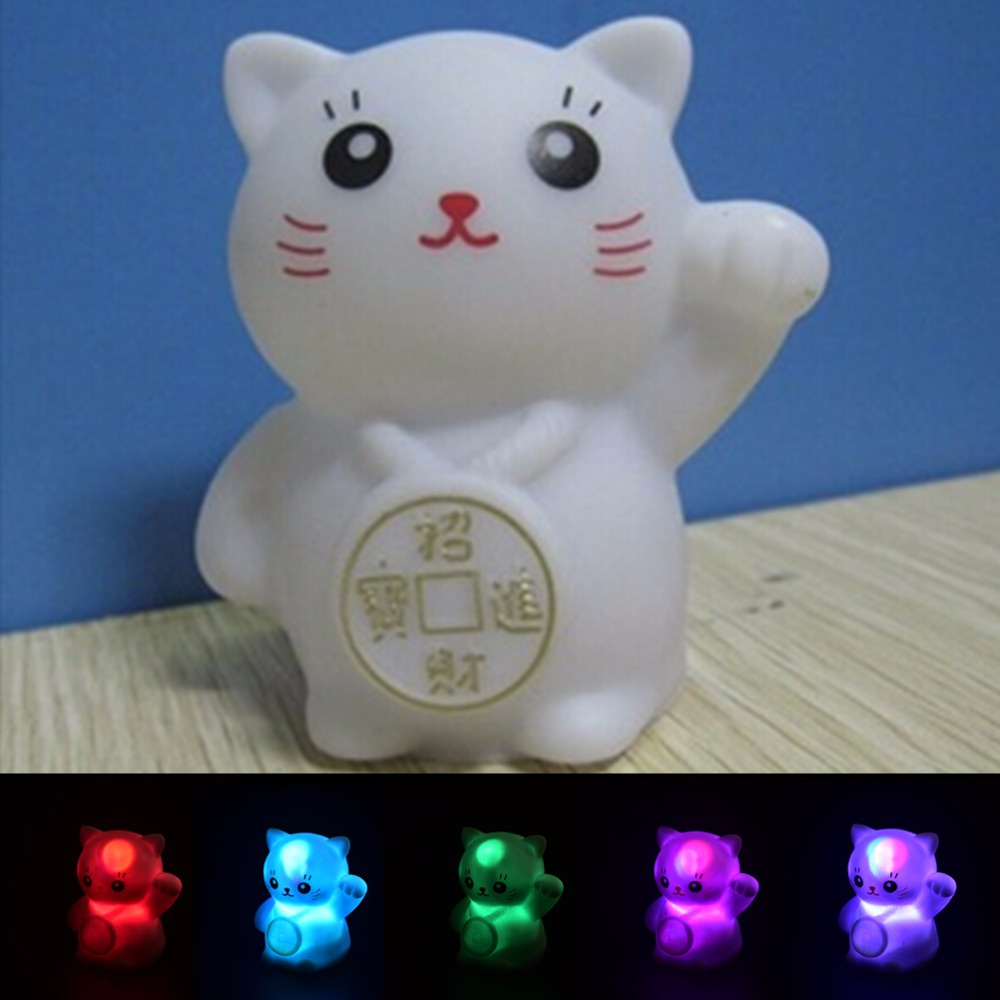 Creative CAT Shaped LED Lamp Night Light Colorful Changing Colors Kids Baby Bedroom Decoration Gift