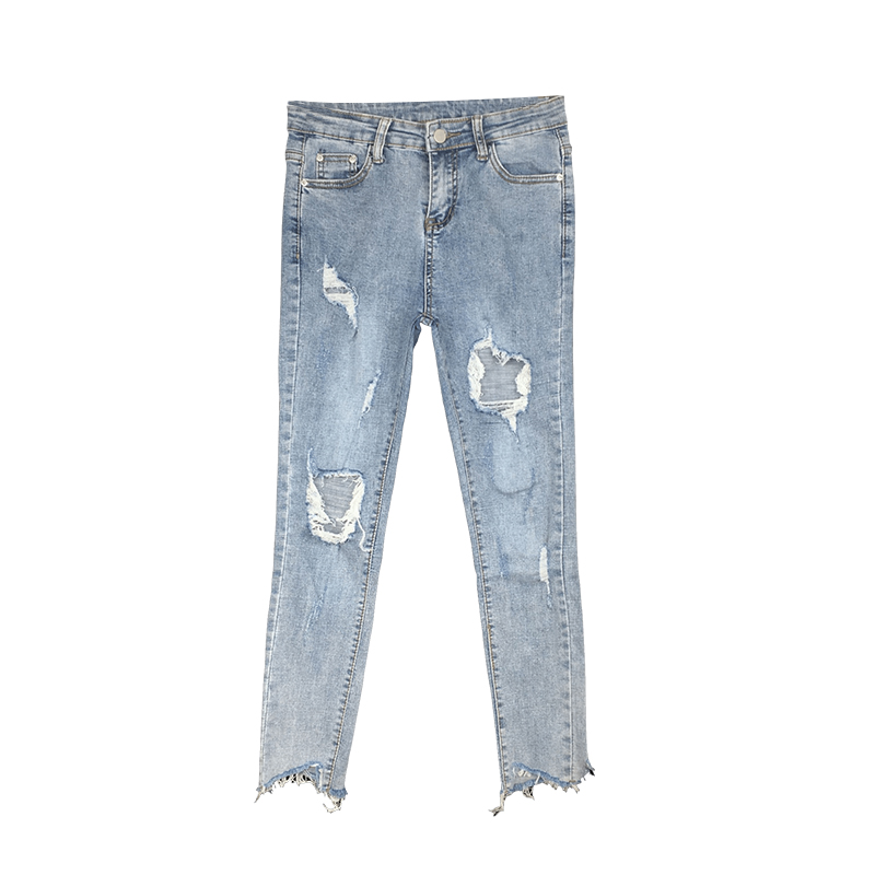 Distressed Jeans Womens Clothing Korean-Fashion Pant Elasticity Sexy