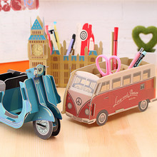 DIY Affordable Lovely Car Shape Pen Holder Multifunction Desk Stand Large Capacity Pencil Holders School Office Stationery(China)