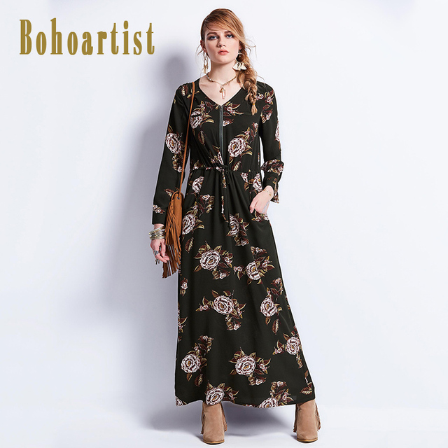 Bohoartist Bekleidung Lange Kleider Blumenmuster V ausschnitt Gürtel ...