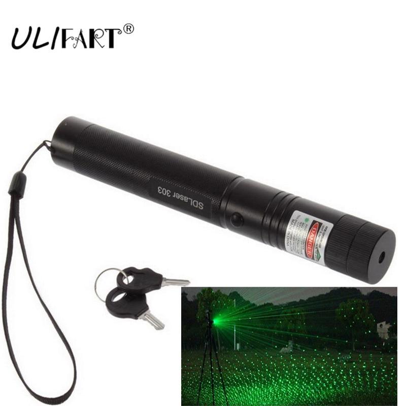 ULIFART Military Laser Pen Leistungsstarke Grüne lazer Pointer 303 Einstellbarer Fokus Brennen Laser Taschenlampe Dropshipping