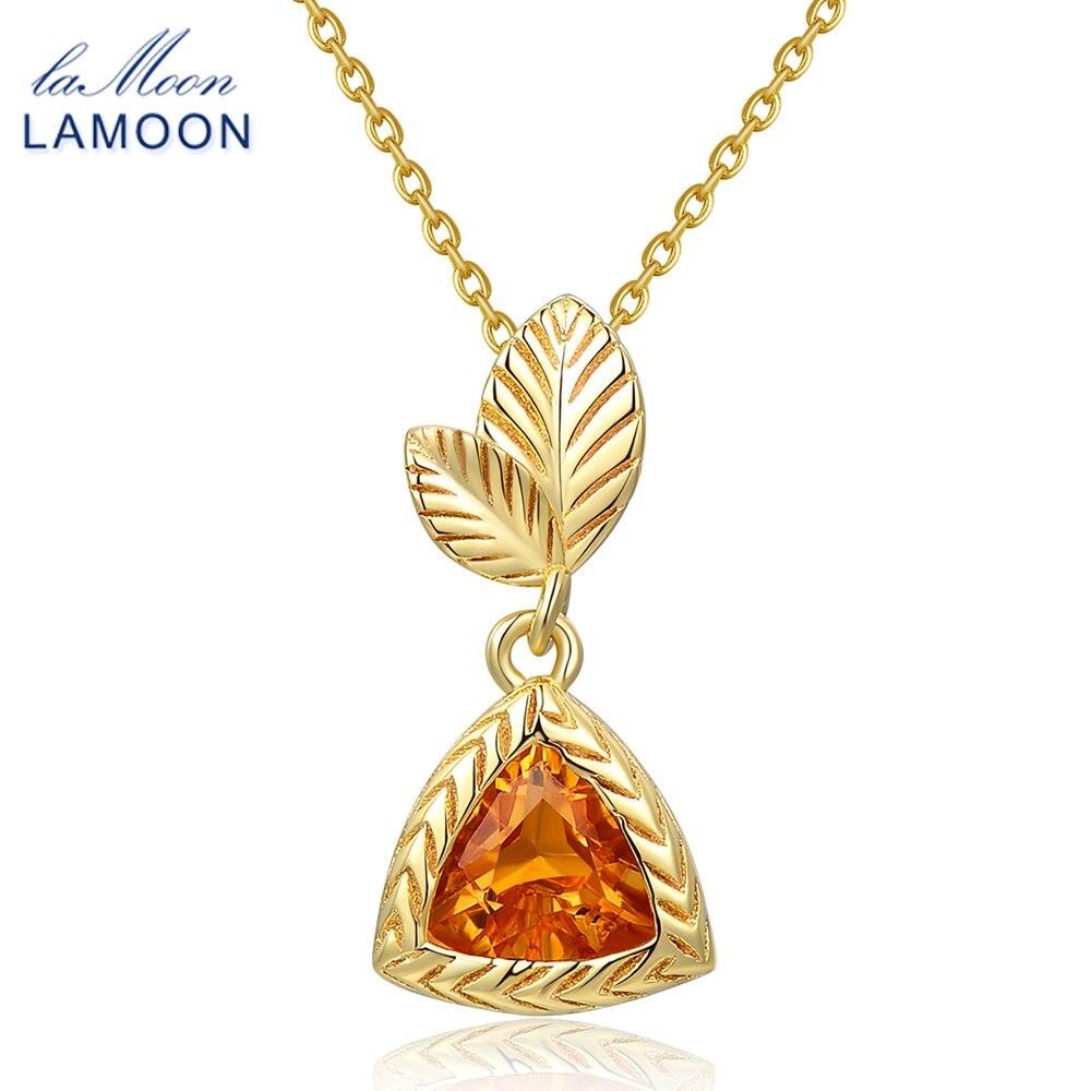 LAMOON halskæde 1,3ct 100% naturlig gul citrin 925 sterling sølv - Smykker