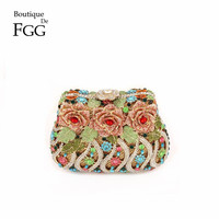 Gift Box Packing Women Bags Party Purse Wedding Clutches Evening Rhinestone Crystal Clutch Floral Hard Metal