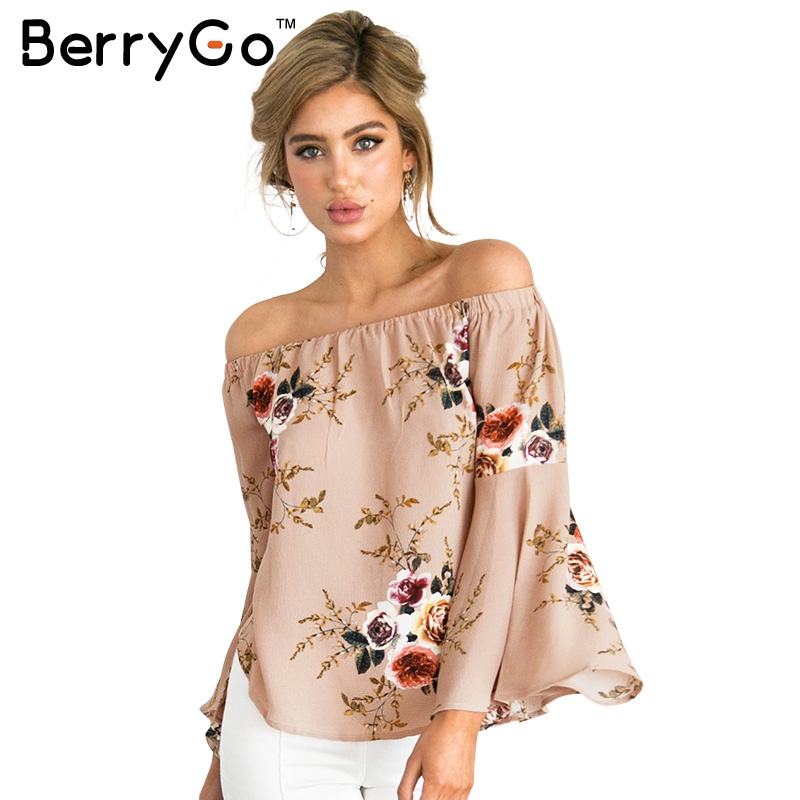 Berrygo hombro blusa de la gasa camisa de las mujeres atractivas del verano de i