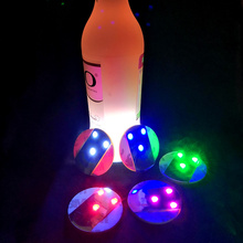 10pcs/lot Ultra Thin Bright Light LED Bottle Sticker Coaster for Party Night Culbs Wedding Table Decoration