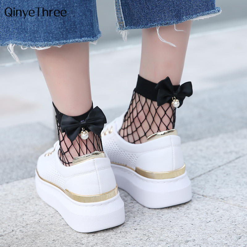 Chic Ladies Fishnet   socks   heel with Bow Pearls Women's Funny Harajuku Breathable Bow knot Fishnet   Socks   Sexy Hollow out Mesh Net