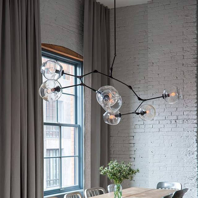 North Morden Home Industrial Pendant Light Black / Gold Bar Stair Dining Room 7 Glass Bulbs Lindsey Light Fixtures Free Shipping stair light