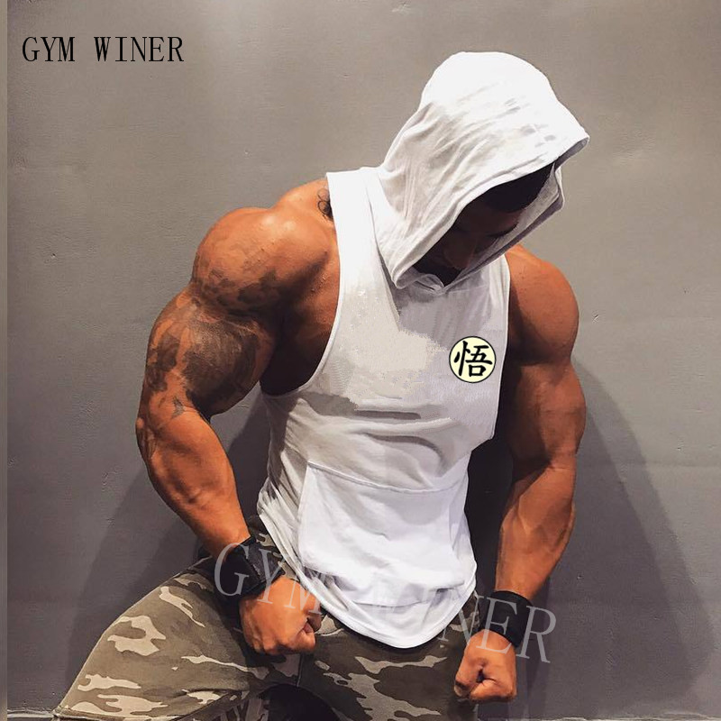 Summer Cotton Dragon Ball Goku men   Tank     Tops   Hooded Black White Singlets Sleeveless fitness men vest Bodybuilding Casual