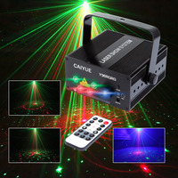 Mini 24 Pattern Red Green Laser Blue LED Stage Lighting IR Remote Home Party Professional Projector