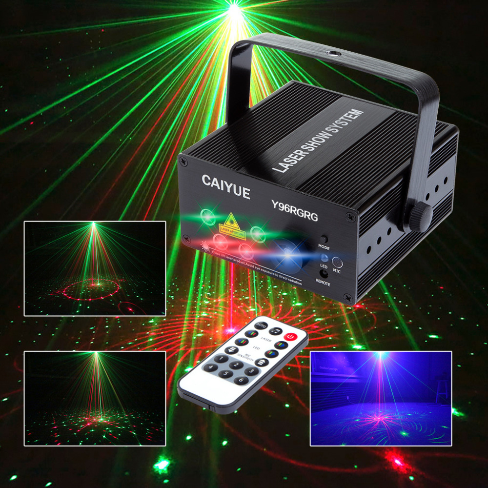 LED Laser Stage Lighting 24 or 96 Patterns RG Mini Red Green Laser Projector 3W Blue Light Effect Show For DJ Disco Party Lights 3 lens 36 patterns rg blue led new year christmas party laser projector stage lighting dj disco bar party show stage light