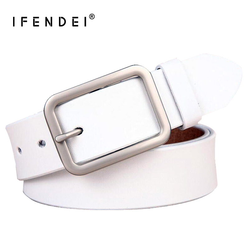 IFENDEI White Leather Belts For Women's Belts Waist Sliver Metal Buckle Strap For Ladies Jeans Wild Red Belt cinto feminino 95cm