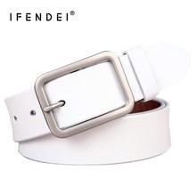 IFENDEI Newest Genuine Leather Belt Women Vintage Casual Needle Buckle Belts Ladies Fashion Waist Wild For Jeans White Strap