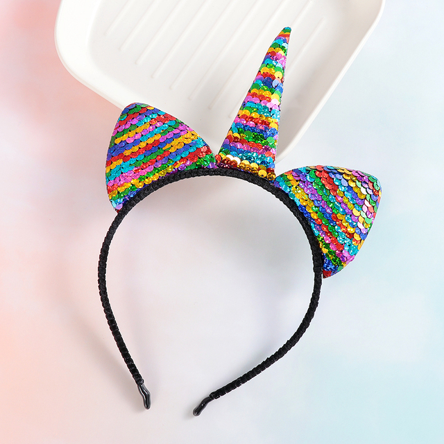 1a5cf639baf26 Kids Glitter Unicorn Rainbow Hairband Cat Animals Ears Reversible Sequins  Head Band Party Cosplay Hair Accessories Xmas Gift
