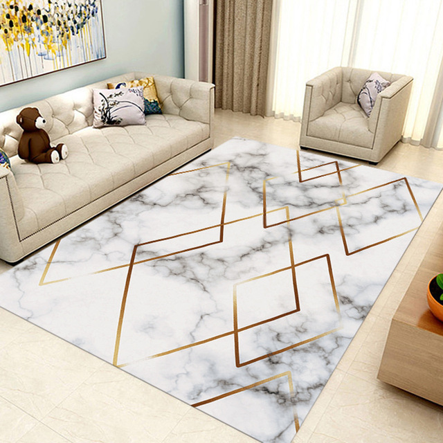 Nordic Geometric Marble Carpets Living Room Large Rugs Sofa Coffee Table  Mat Bedroom Yoga Pad Rectangular