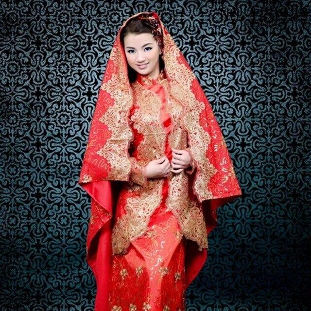 Personnalisé robe de mariage Musulman couleur rouge arabe,robes,pour,femmes  à manches
