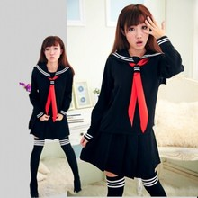 JK Japanese School sailor uniform fashion school class navy sailor school uniforms for Cosplay girls suit  3 Pcs / Set