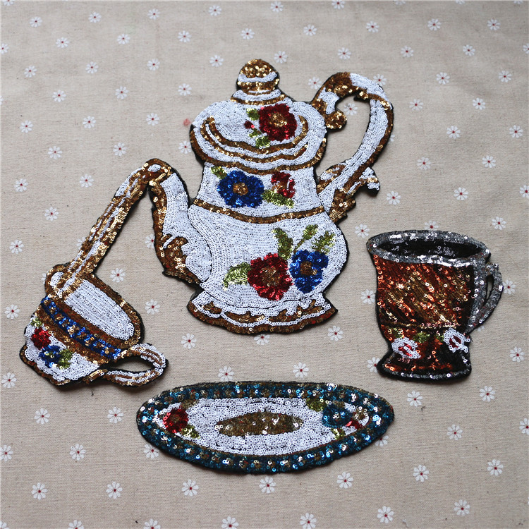 1set Lot New Sequins Tea Cup Teapot Patch Decorative Clothing Accessories Manual DIY Beads Cloth T