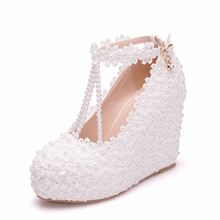 Wedges Pearl Lace Flowers High Heels Shoes Women Crystal Wedding Shoes Elegant Round Toe Pumps Ladies Plus Size XY-A0310 handmade women pumps princess shoes pearl rhinestones wedding shoes crystal adult ceremony super high heels xy a0044