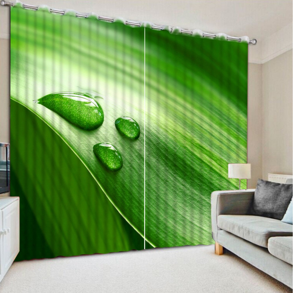 Green bedroom curtains - Pastoral Style Custom Green Leaf Fashion Decor Blackout Bedroom Curtains Home Decoration For Bedroom