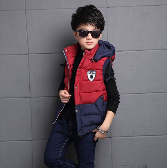 ФОТО 2016 Winter Autumn Vest Patchwork Fashion Red Hooded Handsome Boy Child sleeveless Jacket Cotton Kid Clothe Outwear 16 Years