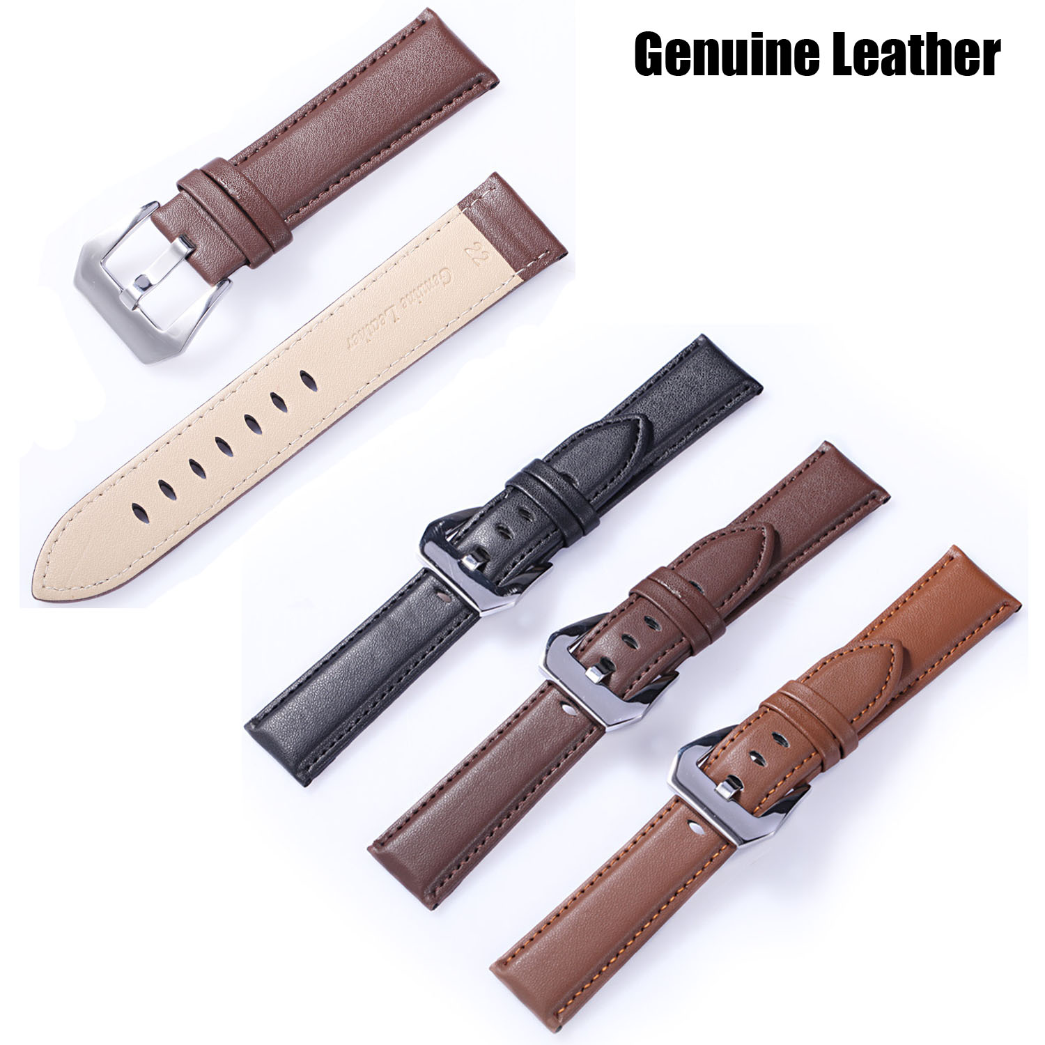 Wholesale 20mm 22mm 24mm Genuine Leather Watch Band Cowhide Strap with Metal Buckle Women & Men's Belt Black Brown Coffee  20mm 22mm 24mm genuine leather watch band strap watch with black buckles black
