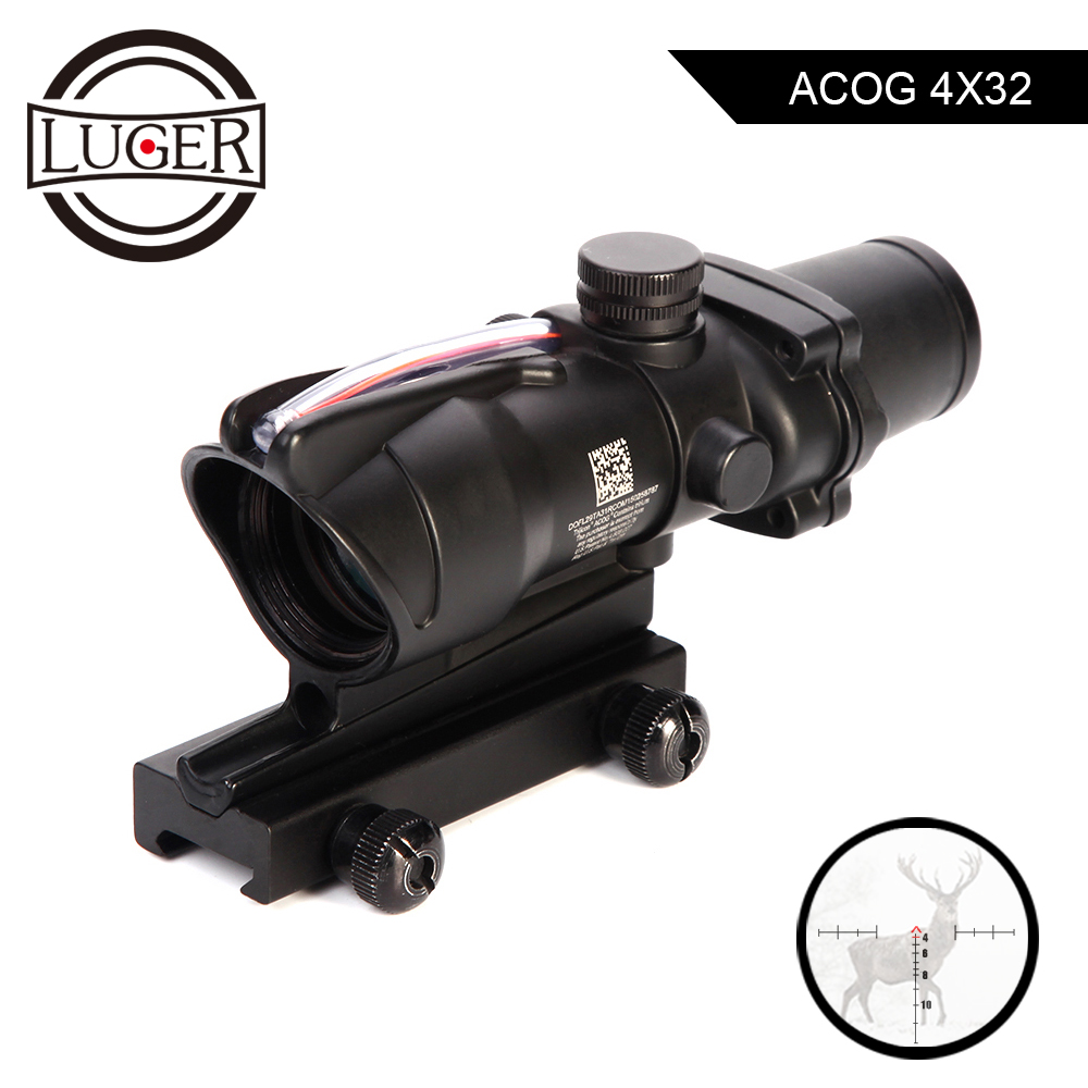 LUGER Hunting Scope ACOG 4X32 Real Fiber Optics Red Dot Illuminated Chevron Glass Etched Reticle Tactical Optical Sight Scopes-in Riflescopes from Sports & Entertainment