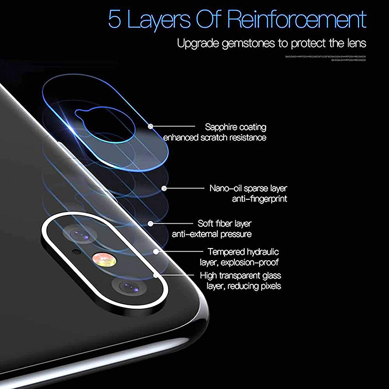 Ascromy For iPhone XS Max Rear Tempered Glass Camera Lens Protector Film Guard For iPhone XR X S 8 Plus 7 6 6S Camera Protection (6)
