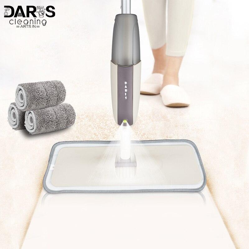 Pulverizador mop de assoalho com almofadas reutilizáveis de microfibra 360 graus lidar com mop para casa cozinha laminado azulejos de madeira cerâmica piso limpeza