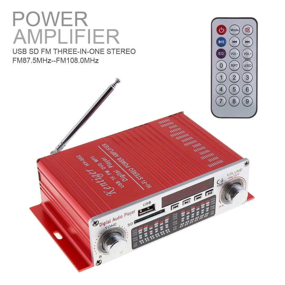 HY-602 HI-FI Digital Audio Player Car Amplifier FM Radio Stereo Player SD USB DVD MP3 Input with Remote Control FM Radio Receive