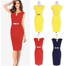 2016 Women's Sexy OL Work V-neck Pure Color Pencil Dresses Fashionable Dress Slim Fit Solid Dress Summer Dress