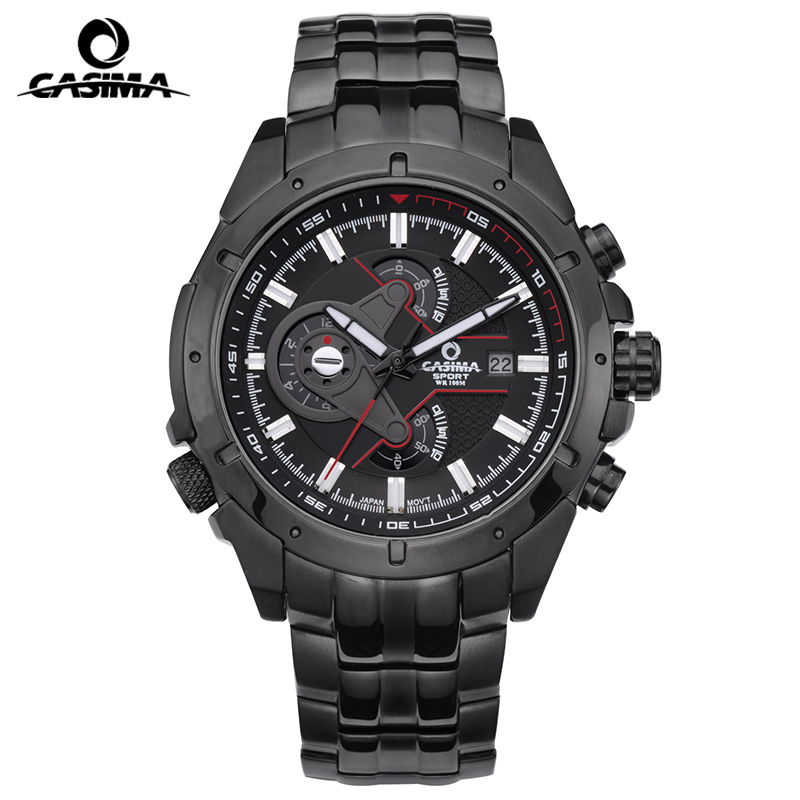 fashion casima Men Quartz Watches Men's Luxury Wrist Watch Big Brand Chronograph Watch Luminous Clock Steel military waterproof