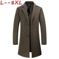 10XL 8XL зима Для мужчин повседневная утепленная Шерстяной Тренч пальто бизнес пальто мужской сплошной цвет Slim fit пальто средней длины Куртки