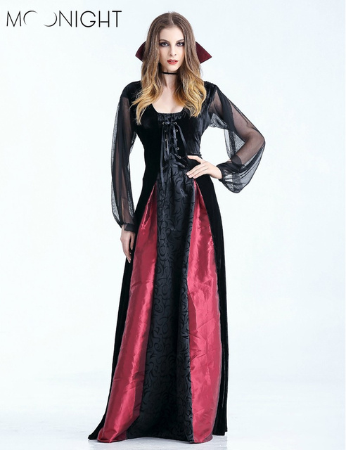 8593c35c058 MOONIGHT New Women Vampire Costumes Cosplay Gothic Vampire Outfit The Queen  Vampire Role Play Clothing