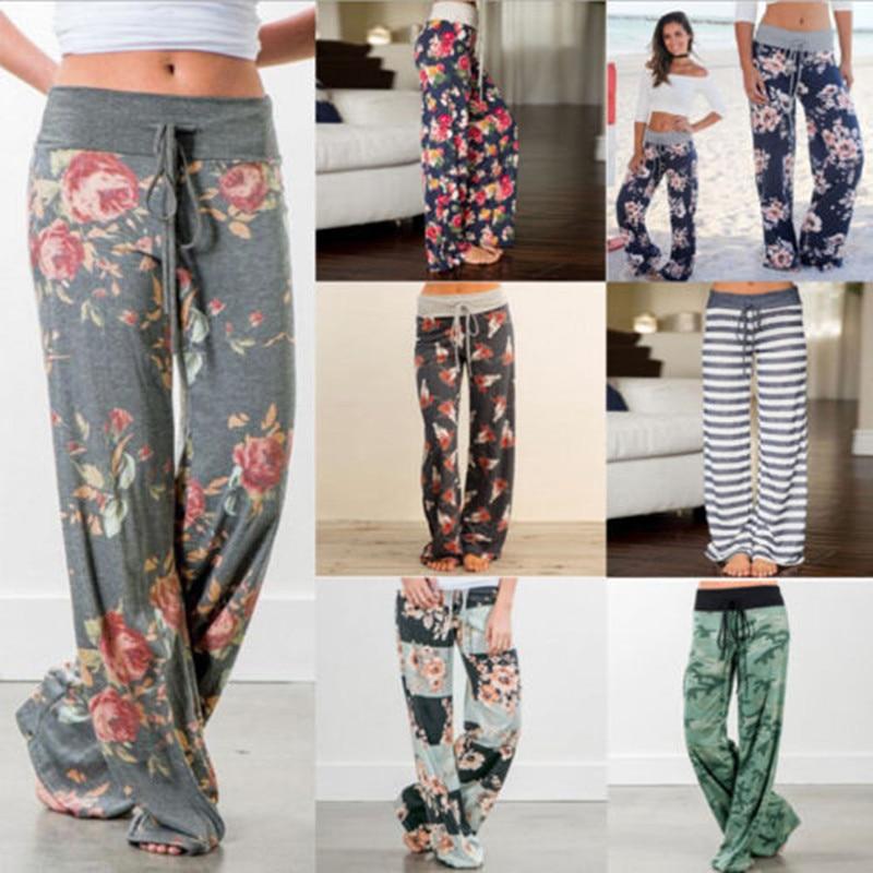 Fashion Women Floral Soft Lounge Wide Leg Pants High Waist Casual Loose Long Pants Trousers Flowers