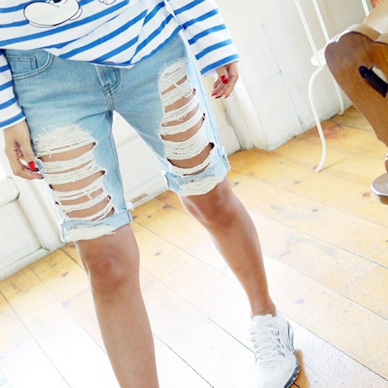 Online Get Cheap Womens High Waisted Denim Mid Length Shorts ...
