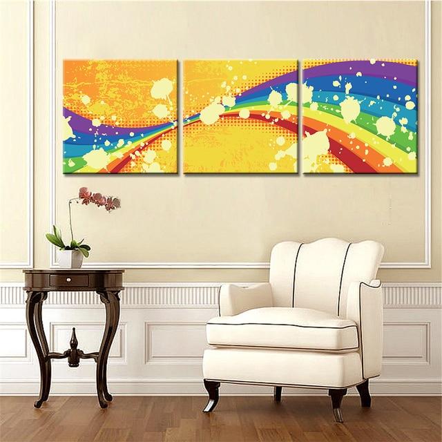 3 Panels Modern Wall Canvas Art Print and Poster Cartoon Rainbow ...