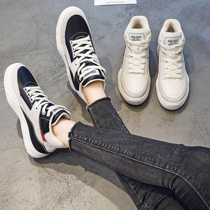 Hiver Le Version Haute Casual Cuir 2019 De 1 Dentelle La Chaussures Velours 2 Sauvage En Plus Bas Coréenne Nouveau Épais Femmes dqv44TcSF