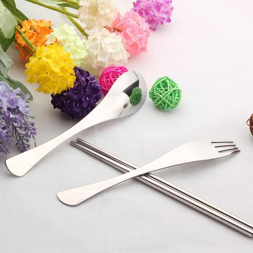 4 قطعة الفولاذ الإبداعي المقاوم للصدأ أدوات المائدة دعوى مجموعة أدوات المائدة المحمولة السفر نزهة في الهواء الطلق أواني الطعام مجموعة للأطفال هدايا