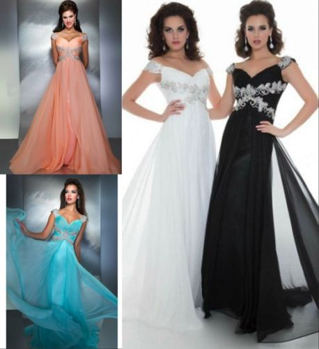 free shipping 2016 new hot sale plus size formal gown custommade cap sleeves sexy chiffon crystal beading sweetheart   Prom     Dress