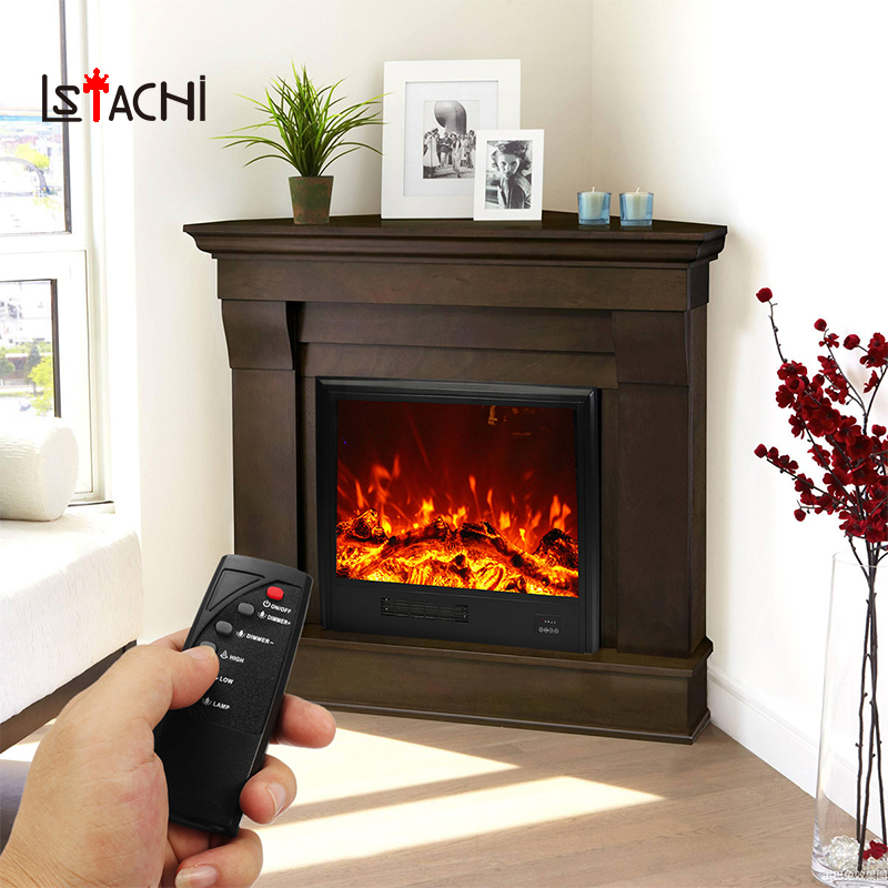 LSTACHi Remote Control Wall Mounted Electric Flame Glass Heater Insert Design With Tempered Glass Decor Adjustable LED Bulbs