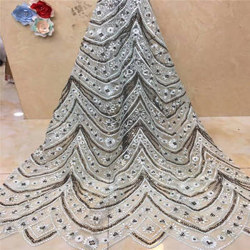 african lace fabric with sequins 450*135CM 2019 latest sequin fabric high quality tulle sequins lace fabric for evening dresses