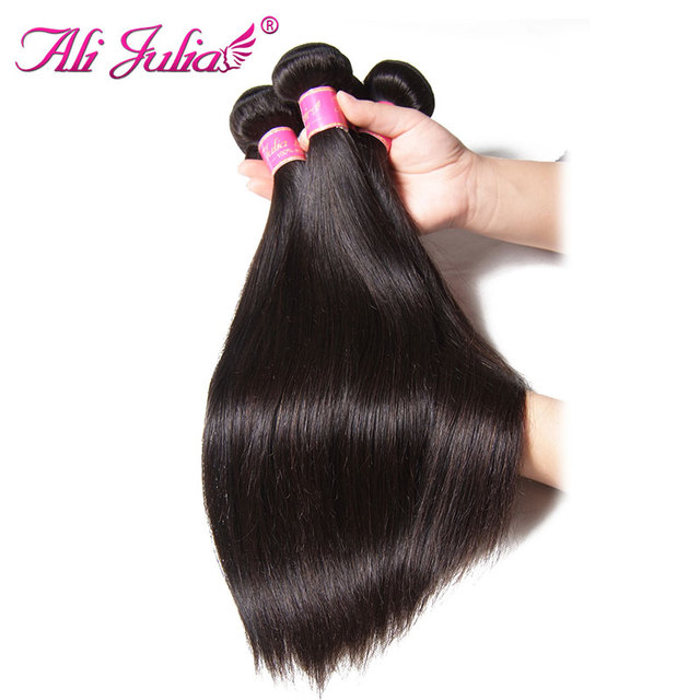 Ali Julia Hair 8 to 30 Inch Brazilian Straight Hair Bundles Human Hair Extension Weave Double Weft Can Be Colored Remy Hair