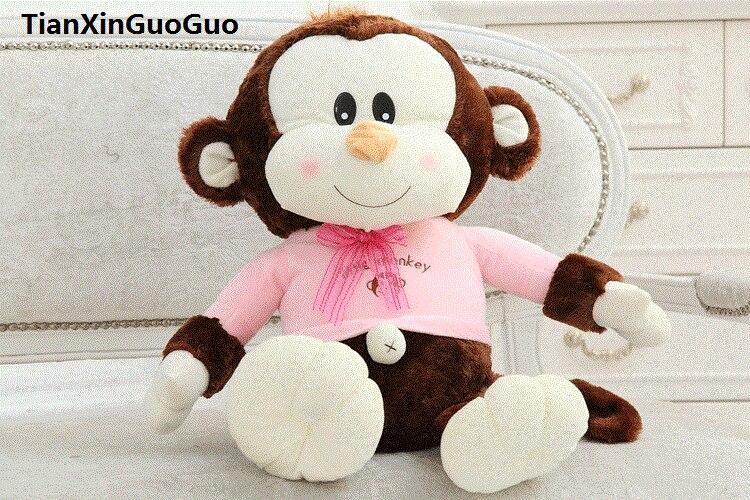 Grand 65 cm belle brun singe en peluche jouet rose tissu conception heureux singe doux poupée coussin cadeau d'anniversaire s0566