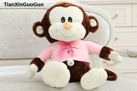 large 65cm lovely brown monkey plush toy pink cloth design happy monkey soft doll throw pillow birthday gift s0566