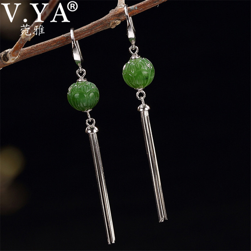 V.YA 925 Sterling Silver Ethnic Earrings Long Tassel Earrings Dangles for Women Luxury Natural Stone Jewelry brincos