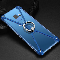 SamsungS9 GalaxyS7 S8 S9 edge mobile phone shell metal frame protector anti falling personality finger ring bracket phone case