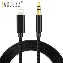 купить !ACCEZZ Lighting Car Audio Cable Adapter For iphone X XS MAX XR 8 7 Plus Converter 3.5mm Jack Headphone AUX Audio Adapter Cables онлайн